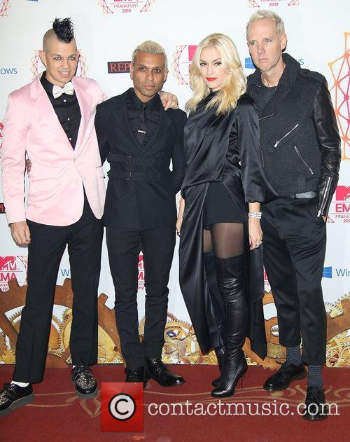 Musicians Adrian Young, Tony Kanalgwen Stefani, Tom Dumont and No Doubt 2