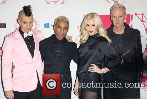 Musicians Adrian Young, Tony Kanalgwen Stefani, Tom Dumont and No Doubt 1