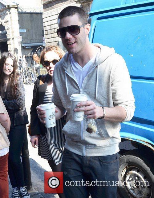 Liam McKenna gets the coffees outside Muzu TV...