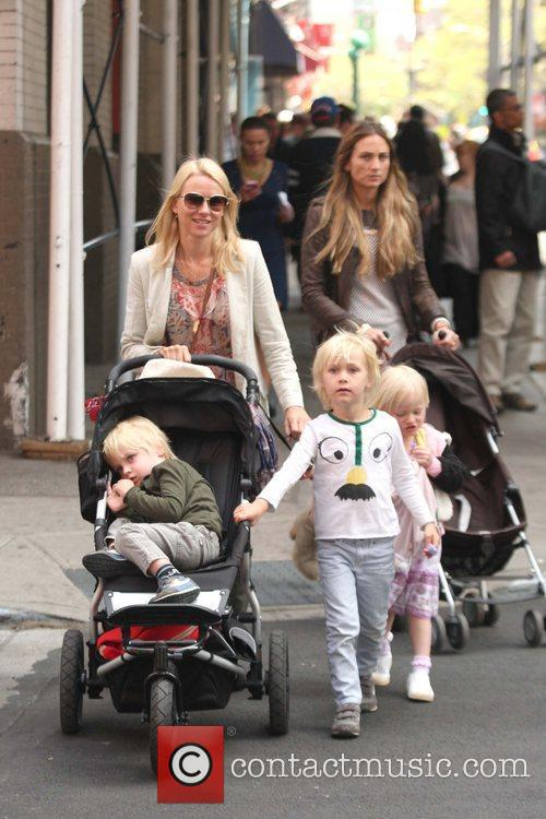 Naomi Watts is seen with her children while...