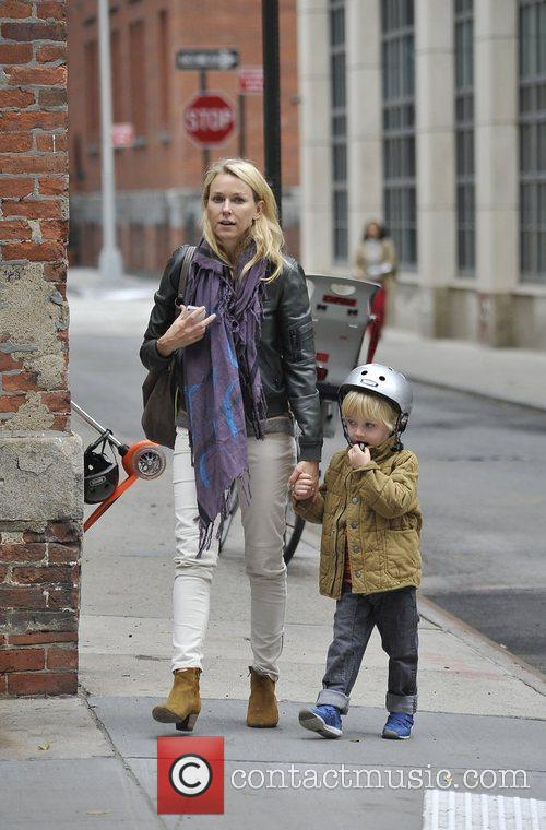 Walking her son, Samuel to school