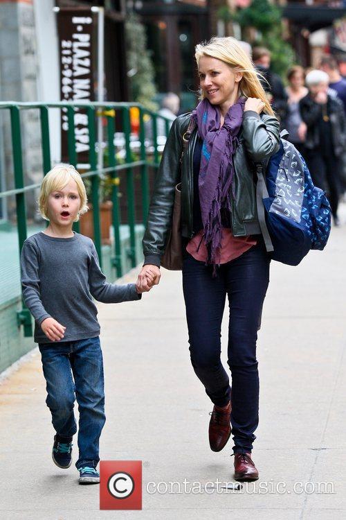 Naomi Watts  walking with her son, Samuel...