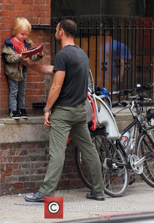 Liev Schreiber and his son outside his school...