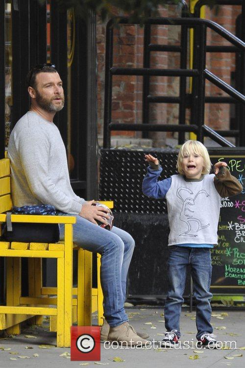 Liev Schreiber and son Alexander play along the...