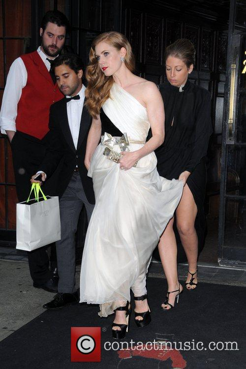 Amy Adams leaves her hotel New York City,...