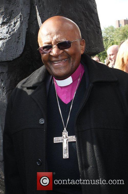 Archbishop Desmond Tutu attends the unveiling of a...