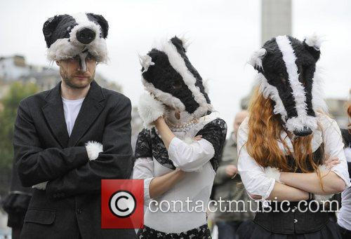 A flash mob descends on Trafalgar Square in...