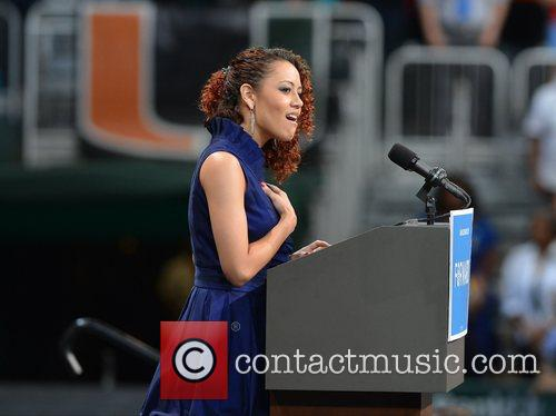 Sings the National Anthem at a Grassroots Event...