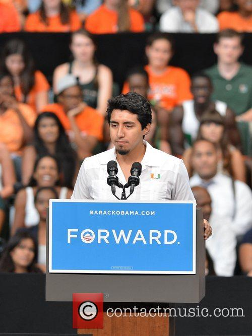 Speaks during a Grassroots Event with President Obama...