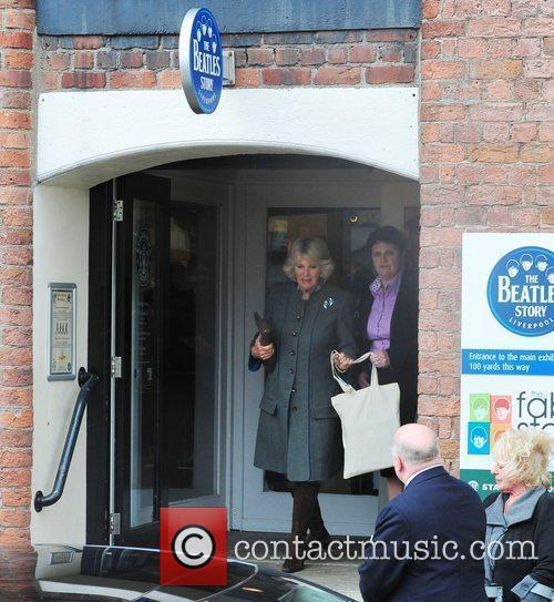 Camilla, Duchess of Cornwall leaving The Beatles Story...