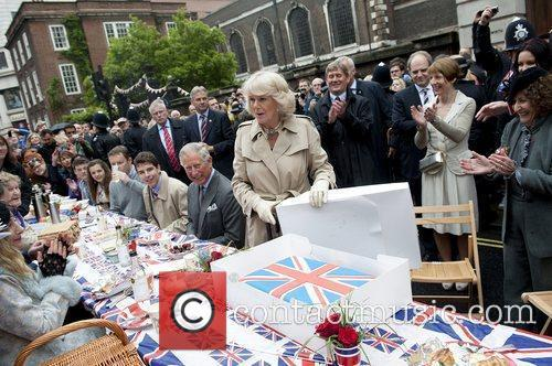 Are given a Union Jack cake at a...