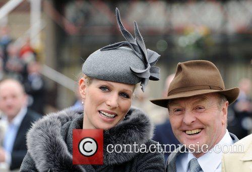Zara Phillips and trainer Jonjo O'Neill at Cheltenham...