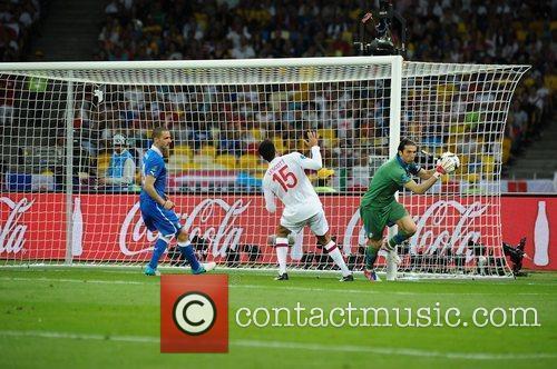 Joleon Lescott and Gianluigi Buffon UEFA Euro 2012...