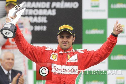 Felipe Massa on the podium at the Brazilian...