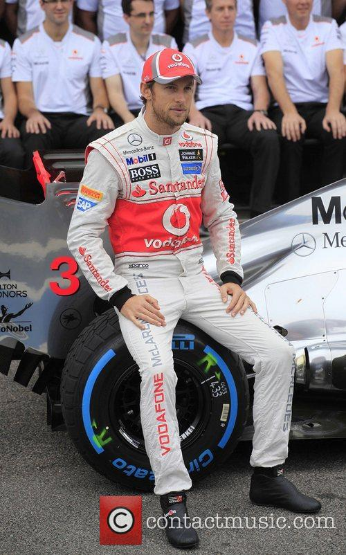 Jenson Button pose for the official photo with...