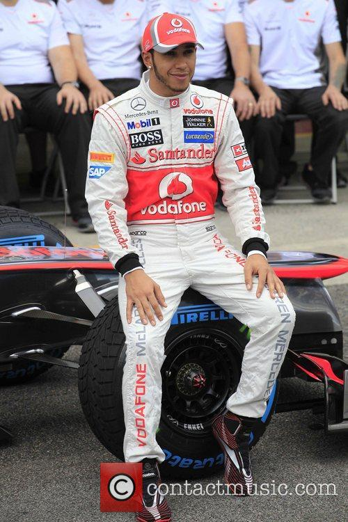 Lewis Hamilton pose for the official photo with...