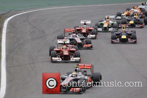Start of the race, Lewis Hamilton racing at...