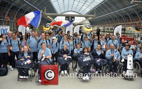 The French Paralympic team arrive at King's Cross...