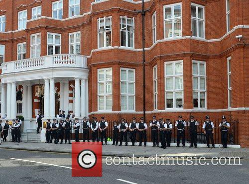 Police in Knightsbridge for Wikileaks founder Julian Assange...
