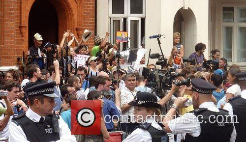 Protesters for Wikileaks founder Julian Assange who is...