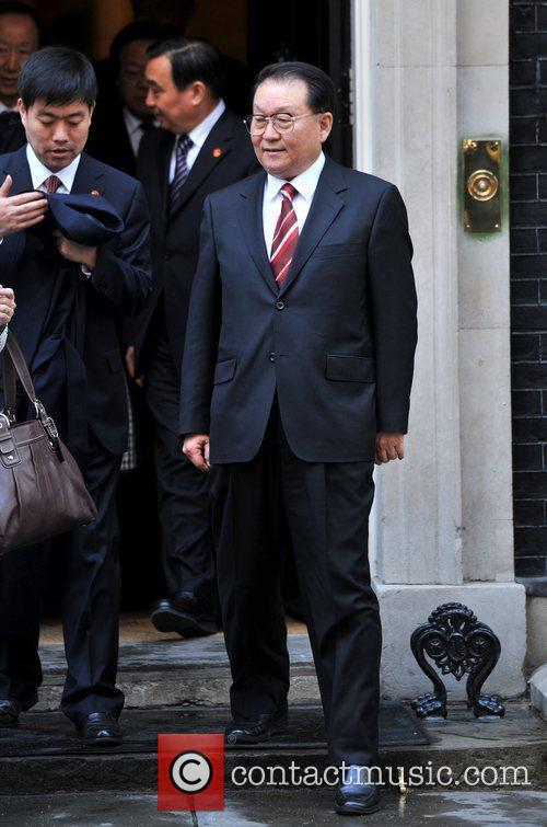 Leaves 10 Downing street after a meeting with...