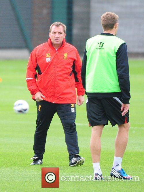 Brendan Rodgers and Steven Gerrard Liverpool FC train...