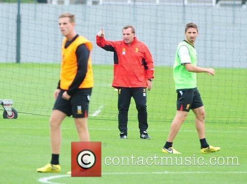 Brendan Rodgers Liverpool FC train ahead of the...