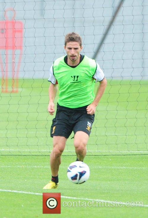 Fabio Borini Liverpool FC train ahead of the...