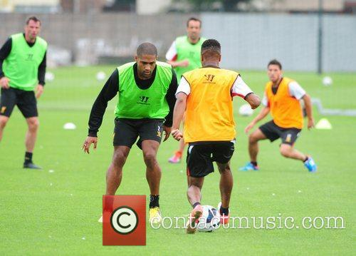 Glen Johnson Liverpool FC train ahead of the...