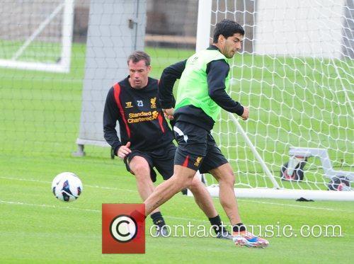 Jamie Carragher and Luis Suarez Liverpool FC train...
