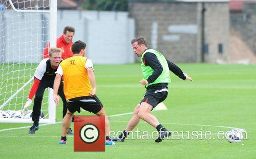 Jamie Carragher Liverpool FC train ahead of the...