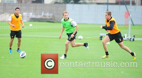 Lucas Leiva and Jordan Henderson Liverpool FC train...