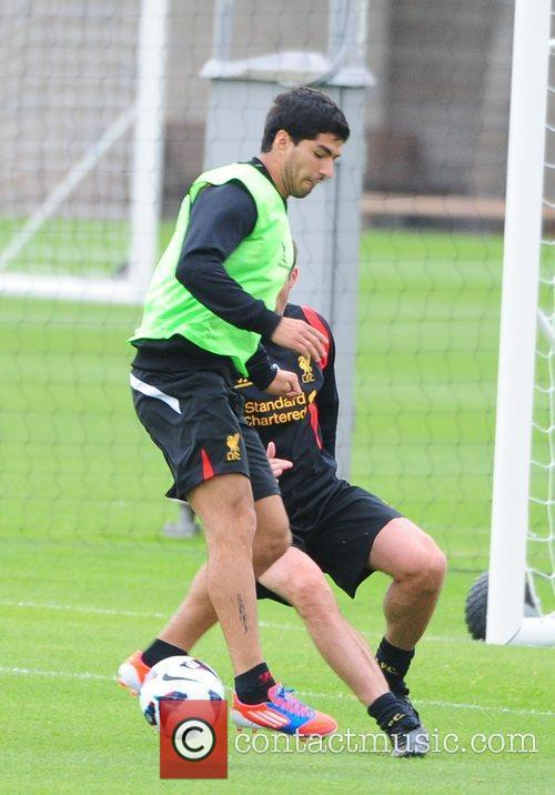 Luis Suarez Liverpool FC train ahead of the...