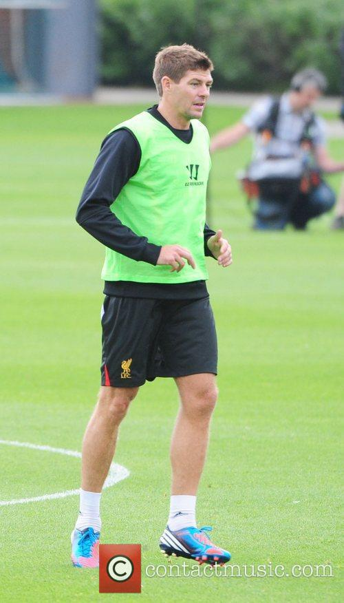 Steven Gerrard Liverpool FC train ahead of the...