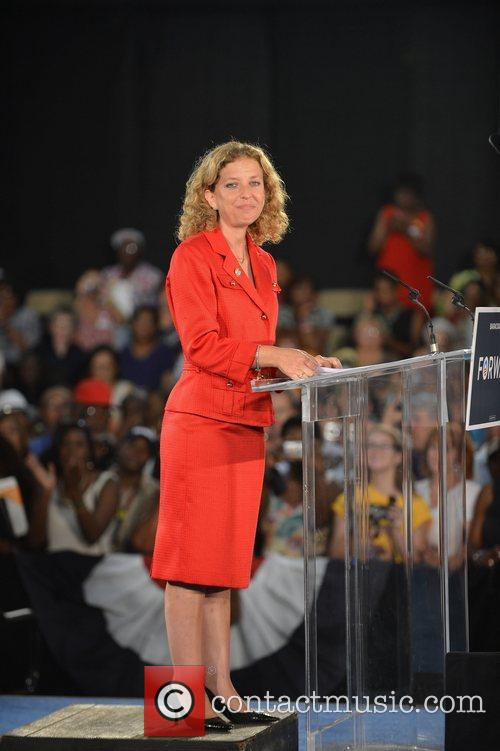 Delivers a speech during a rally at Florida's...