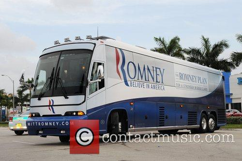 Republican Presidential candidate Mitt Romney coach/ battle bus...