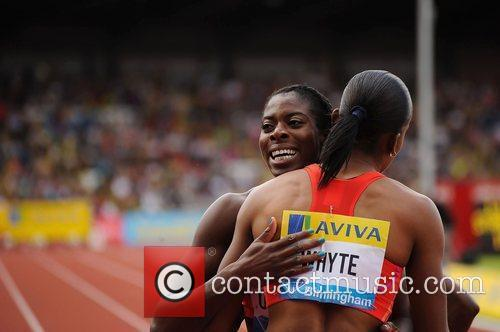 Christine Ohurougu congratulating Rosemarie Whyte after the Women's...