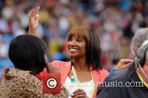 Denise Lewis in action Aviva Diamond League Grand...