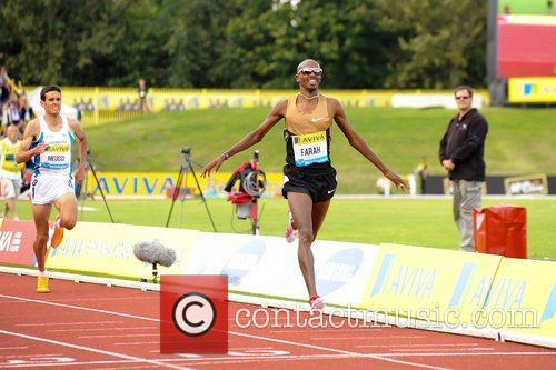 Mo Farah in action Aviva Diamond League Grand...