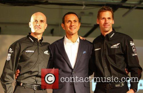 Nissan DeltaWing Le Mans racing car drivers from...