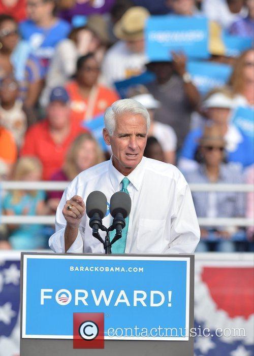 Former Florida Governor Charlie, Florida, Crist, S, U, S. President Barack Obama, Obama, High School, Hollywood, November, Americans, Republican, Mitt Romney, Sunday and White House 6