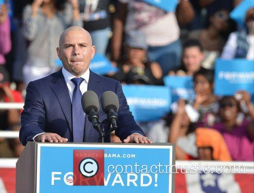 Rapper Pitbull, U, S, S. President Barack Obama, Obama, High School, Hollywood, Florida, November, Americans, Republican, Mitt Romney, Sunday and White House 8
