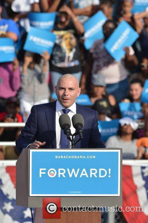 Rapper Pitbull, U, S, S. President Barack Obama, Obama, High School, Hollywood, Florida, November, Americans, Republican, Mitt Romney, Sunday and White House 3