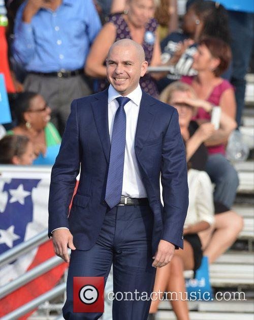Rapper Pitbull, U, S, S. President Barack Obama, Obama, High School, Hollywood, Florida, November, Americans, Republican, Mitt Romney, Sunday and White House 1