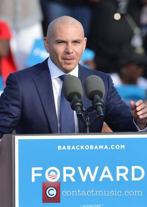Rapper Pitbull, U, S, S. President Barack Obama, Obama, High School, Hollywood, Florida, November, Americans, Republican, Mitt Romney, Sunday and White House 4