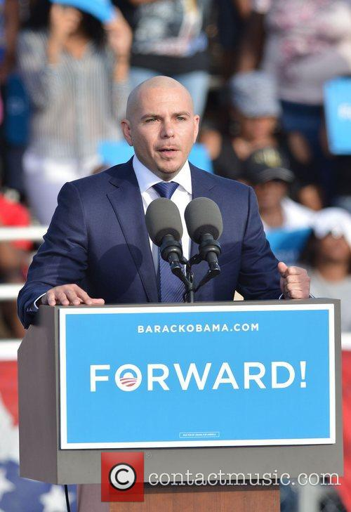 Rapper Pitbull, U, S, S. President Barack Obama, Obama, High School, Hollywood, Florida, November, Americans, Republican, Mitt Romney, Sunday and White House 7