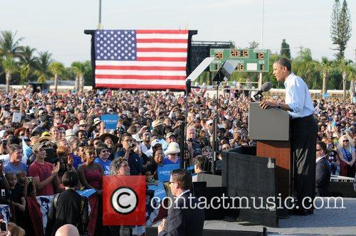 US President Barack Obama speaks at a rally...
