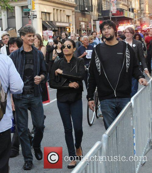 Rosario Dawson walking with friends during the Occupy...