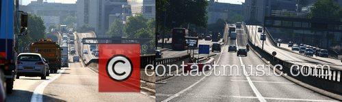 Comparison image - Left, congestion on the A40...
