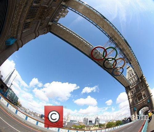 The Olympic rings have been installed to the...